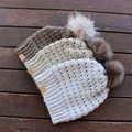 MODERN SLOUCHY BEANIE/HAT with FAUX FUR POM- Womens  - various colours