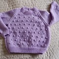 SIZE 3-4 yrs - Hand knitted jumper in purple: washable, OOAK
