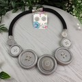 Silver Stunner - Twist - Button Fusion Necklace - Button Jewellery - Earrings
