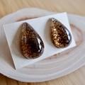 Coffee grounds resin earrings (droplet)