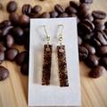 Coffee grounds resin earrings (long rectangle)