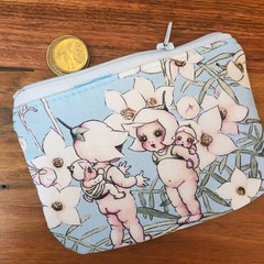 Coin purse - flannel flowers on blue