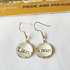 Lizzy Bennet Earrings Pride and Prejudice Jane Austen Dangle Silver Vintage Book