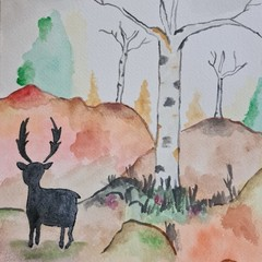 Watercolour ruska autumm Finland with deer