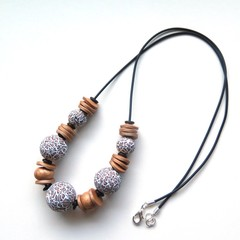 Leopard chunky polymer clay statement necklace