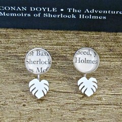 Sherlock Holmes Ear Jackets Earrings Jewelry Monstera Tropical Leaf Silver Studs