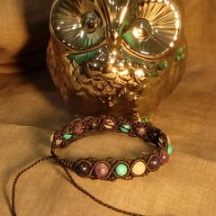 Black macrame bracelet with Lapiz Lazuli, Amethyst, Turquoise and Rose Quartz