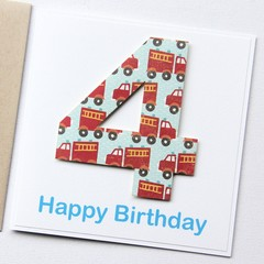 Any Age Birthday card | Personalised | Children Fire Engine 1 2 3 4 5 6 7 8 9
