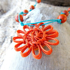 Natural Fibre Flower Beaded Necklace Pendant Summer Jewellery Teal Orange