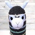 'Ash' the Sock Alpaca - grey with pastel stripes  - *READY TO POST*