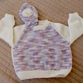 SIZE 1-2 - Hand knitted jumper & beanie: cream & multi colour, machine washable