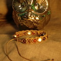 Brown macrame bracelet with Garnet, Tiger's Eye, Carnelian and Howlite
