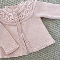 Pink Cable Yoked Cardigan - Size 1 - 2 years - wool alpaca silk blend