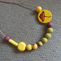 Necklace - Summertime N294L. Pottery, hand-painted wood, polymer clay.