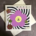 'Girls Just Wanna Have Fun' Birthday Card with Purple Flower