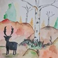 Watercolour ruska autumm Finland with deer