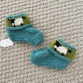 Teal sheep  booties - Hand knitted in Pure Wool