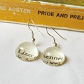 Lizzy Bennet Earrings Pride and Prejudice Jane Austen Dangle Silver Vintage Book