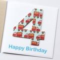 Any Age Fire Engine Birthday Card, Personalised, Custom Made Handmade Card
