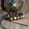 Black macrame bracelet with Unakite, Rhodonite and Clear Quartz