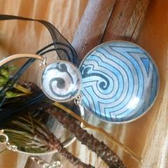 Silver Labyrinth Pendant and Bracelet Set