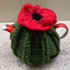Tea Cosy for Small Tea Pot... Poppy Trim Hand Crocheted