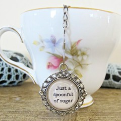 Mary Poppins Tea Infuser Strainer - Quote Just A Spoonful Of Sugar - Foodie Gift