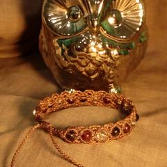 Brown macrame bracelet with Smoky Quartz, Garnet and Clear Quartz