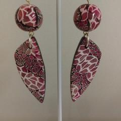 Earrings -  double drop pink, black & white