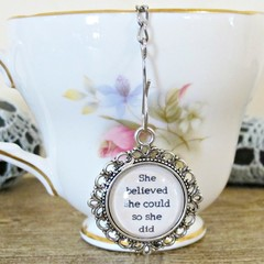 Inspirational Quote Tea Infuser Strainer She Believed She Could So Did Foodie