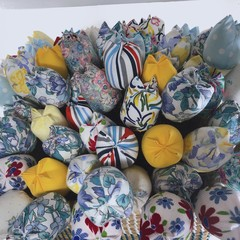 Blue Fabric Flowers Fabric Tulips Wedding Bouquet Cotton Flowers Spring Flowers