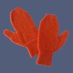 Orange Mittens for Medium Adult Size Hand
