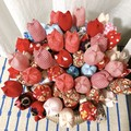 Red Fabric Flowers Fabric Tulips Wedding Bouquet Cotton Flowers Spring Flowers