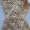 Cream Scarf with Knitted Check Pattern