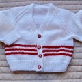 3-9mths - Hand knitted cardigan inked and white: unisex, washable, OOAK