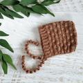 Caramel Crochet Newborn Bobble Baby Pixie Bonnet Beanie Hat