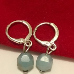 Sterling Silver Amazonite hoop Earrings