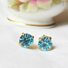 Aquamarine Earrings Minimalist Ear Studs Vintage Crystal Blue Aqua Round