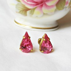 Rose Pink Teadrop Earrings Ear Studs Vintage Fuchsia Glass Pear Glam Jewellery