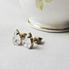 Crystal Clear Swarovski Earrings Jewelry Ear Studs Vintage Teardrop Pear For Her