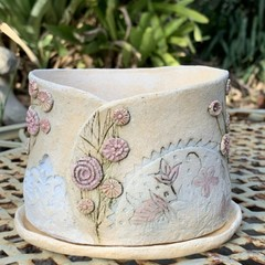 Rustic Planter with Saucer