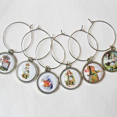 Alice in Wonderland Wine Glass Charms Foodie Gift Set Illustrated Barware