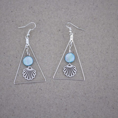 Seashell MOP Geometric Earrings