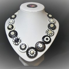 Unique button necklace - Spots and Dots