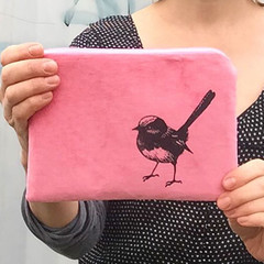 Screen printed fairy wren pouch / clutch / purse / wallet