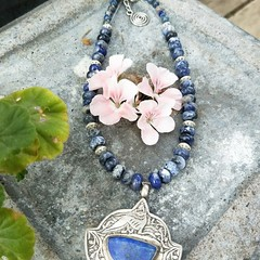 Etched silver Turkish pendant with lapis lazuli inlay.
