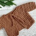 Caramel Hand Crocheted Baby Bobble Cardigan  0-3 months