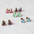 Rose Pink Teadrop Earrings Ear Studs Vintage Fuchsia Glass Pear Glam Jewellery