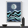 Moon over the Sea with quote, Printable Art, Digital Download, Print your own