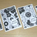 Set 4 Female Happy Birthday cards - black and white floral print